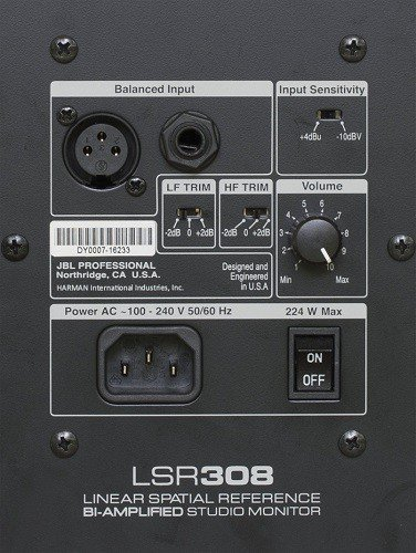Lsr308 back pannel - Linear Spatial Reference BI-Amplified Studio Monitor