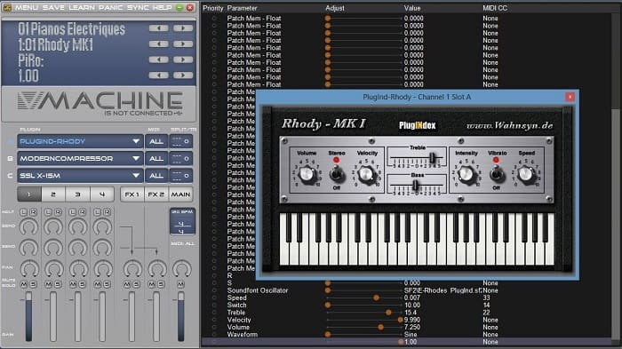 VMachine comes with VFX software that allows you to set up different VST plug ins and configure the device.
