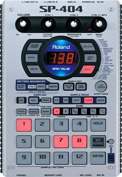 Roland SP404 you will be greeted by a very aesthetic piece of equipment.