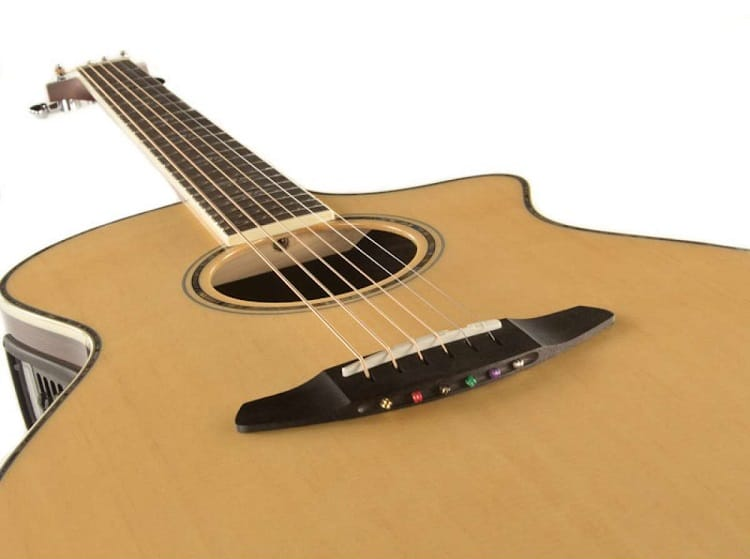 The bridge design Breedlove went with is their own pinless design.