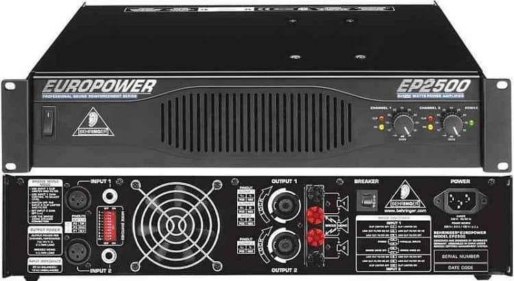 behringer ep2500 front and back view