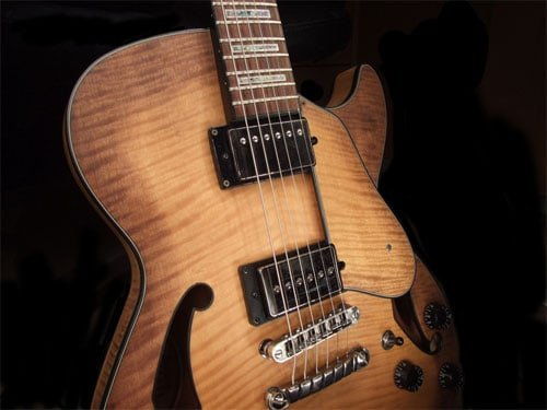 LP body shape with slightly arched top and distinctive f-holes